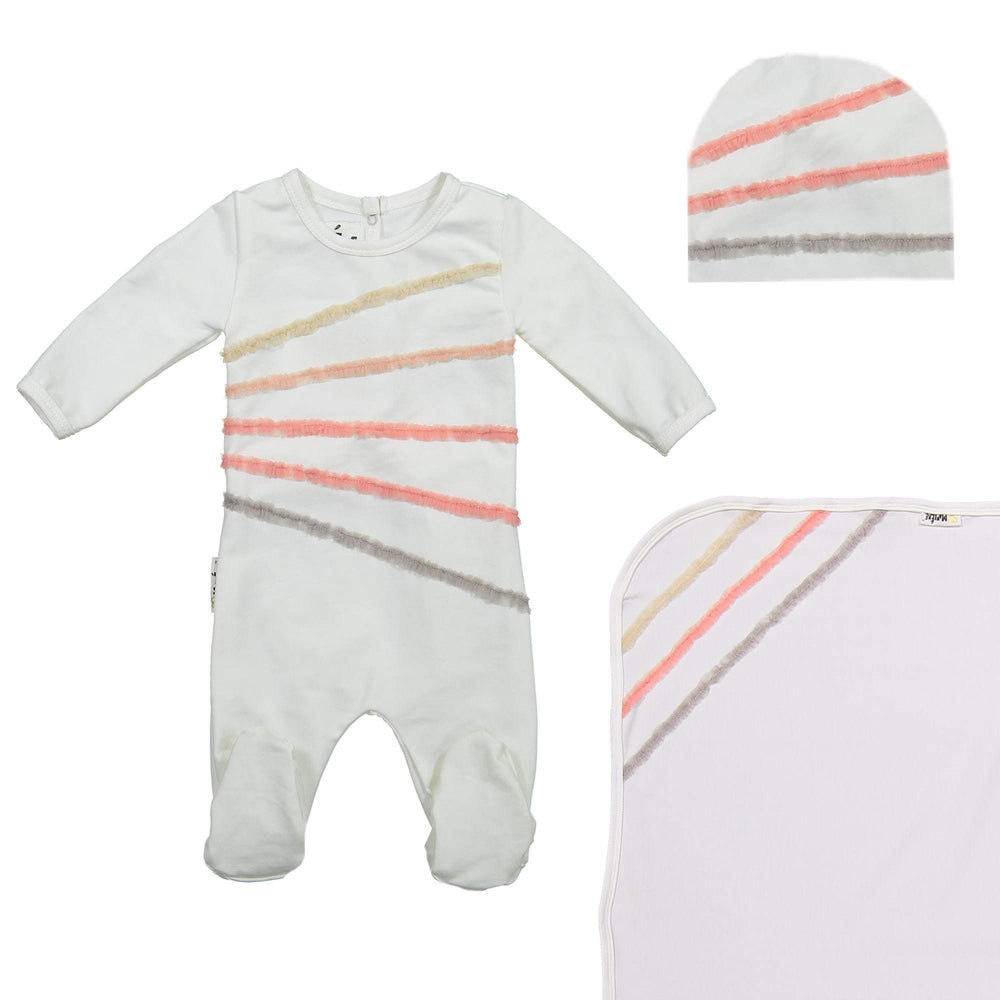 Load image into Gallery viewer, Rainbow Tulle Footie Set Maniere Accessories White 3 Month