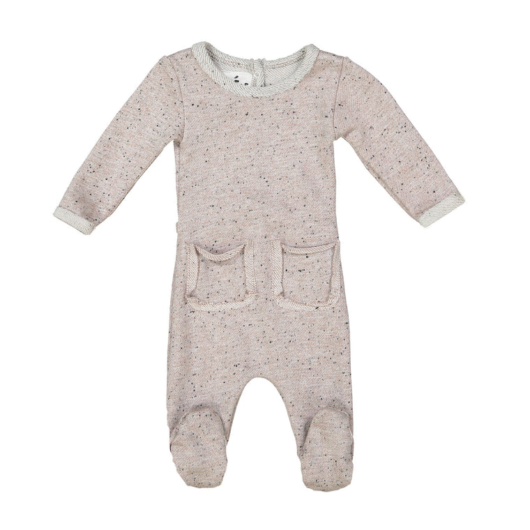 Reverse French Terry Footie Maniere Accessories Stone 3 Month