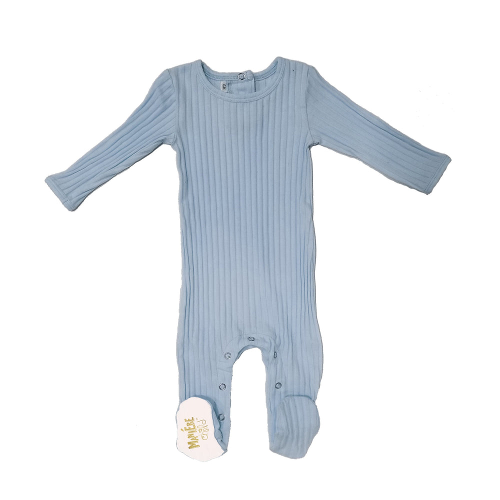 Ribbed Fine Cotton Footie Baby Footies Maniere Accessories 3Months Denim Blue