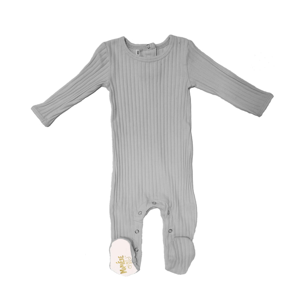 Ribbed Fine Cotton Footie Baby Footies Maniere Accessories 3Months Grey