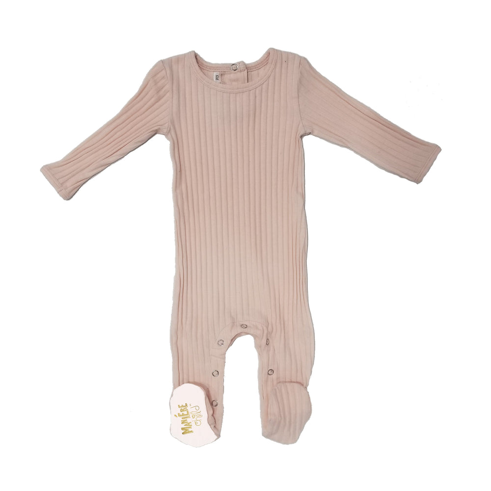 Ribbed Fine Cotton Footie Baby Footies Maniere Accessories 6Months Mauve