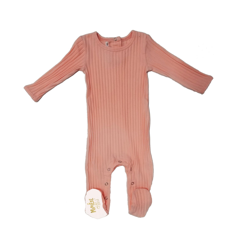 Ribbed Fine Cotton Footie Baby Footies Maniere Accessories 3Months Salmon