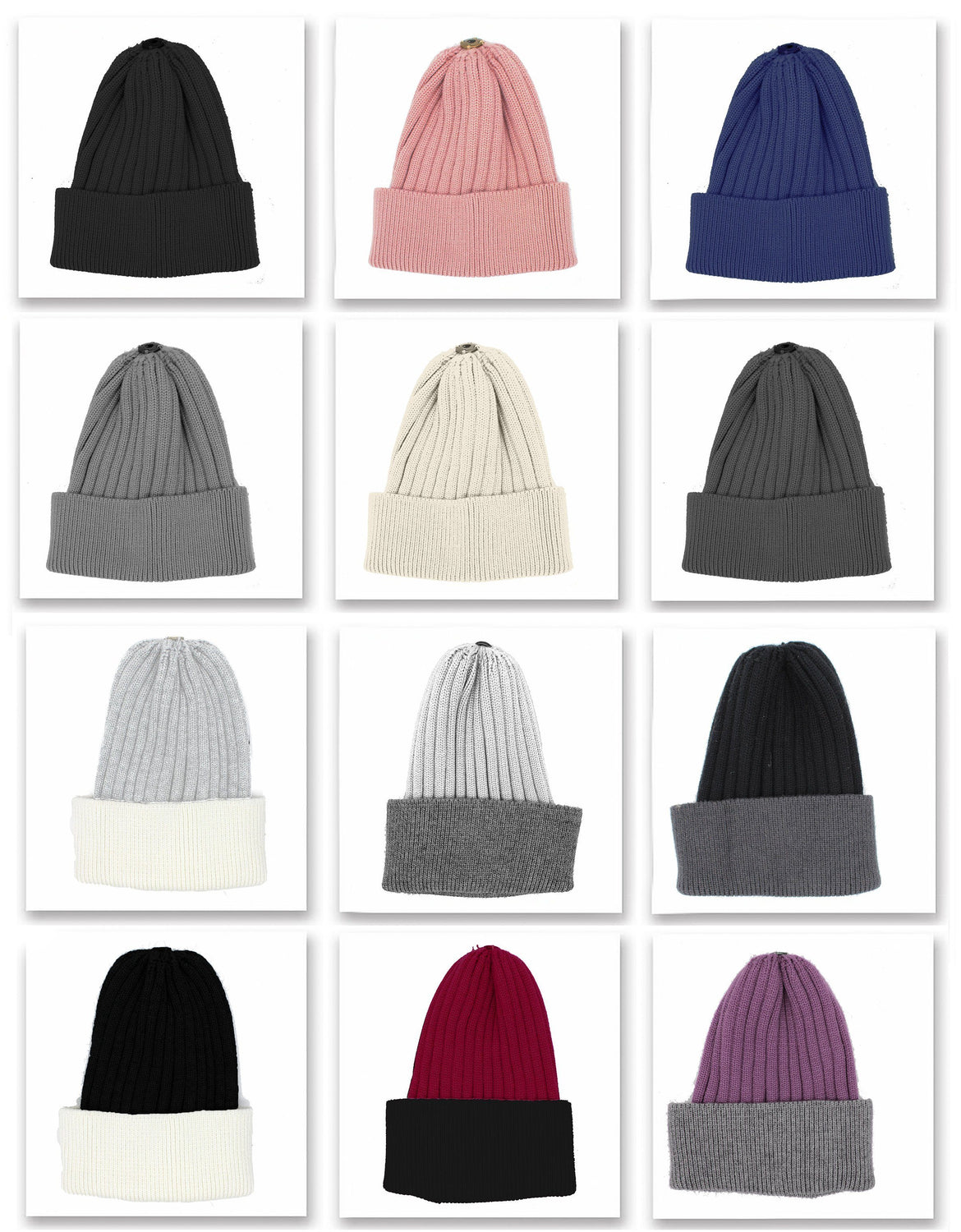 Ribbed Flat Wool Blend Hat with Choice Of Pom