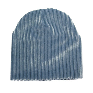Load image into Gallery viewer, Ribbed Velvet Beanie With Matching Pom Baby Beanie Maniere Accessories