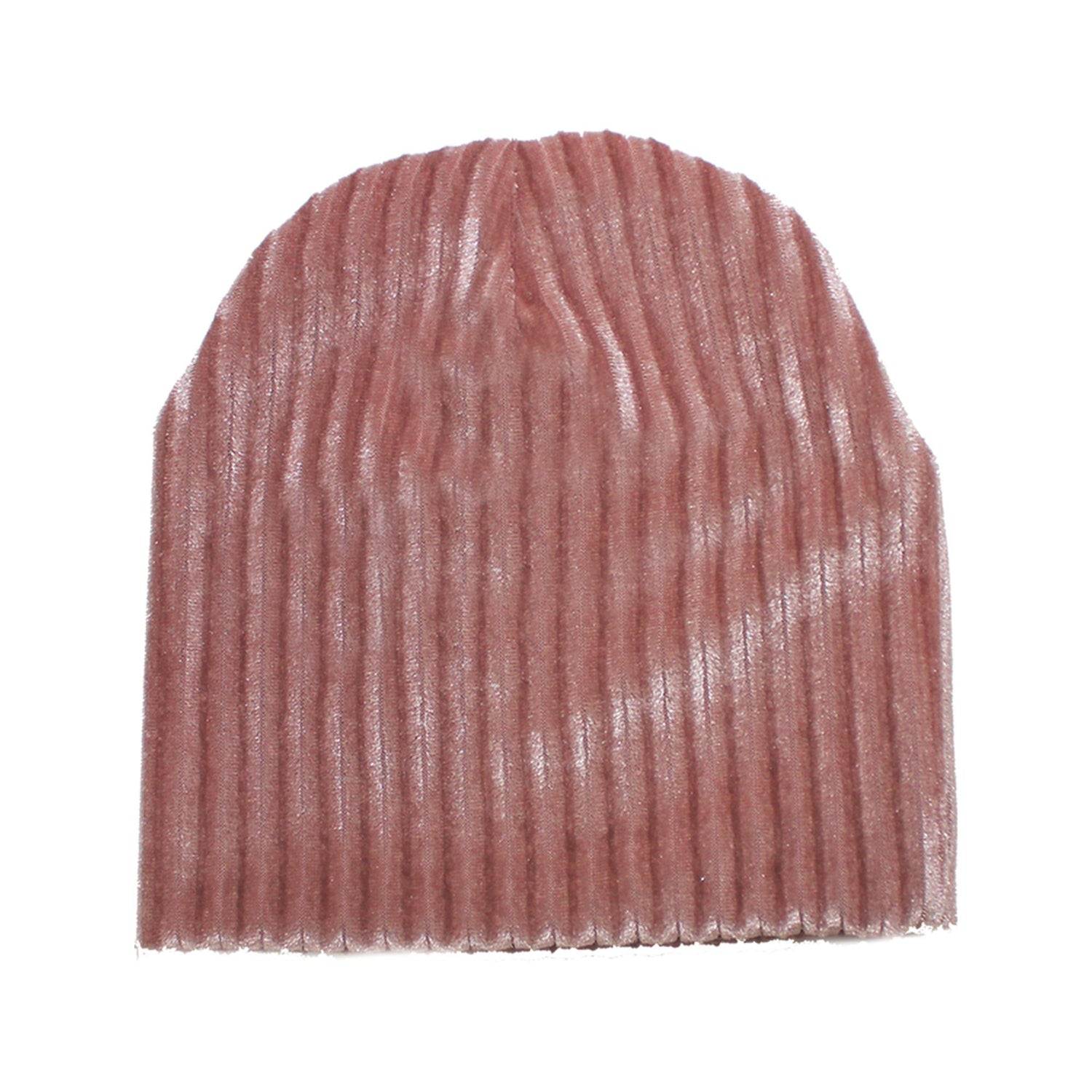 Ribbed Velvet Beanie With Matching Pom