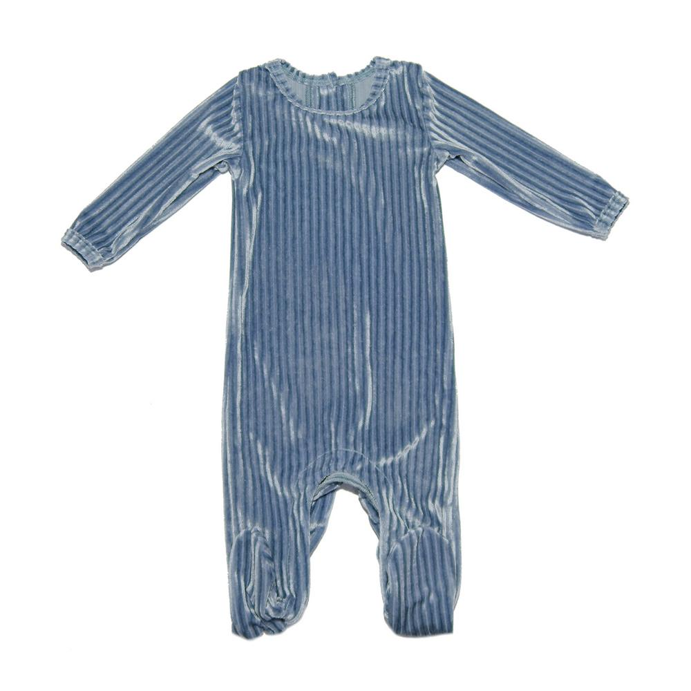 Ribbed Velvet Footie Baby Footies Maniere Accessories Denim 3M