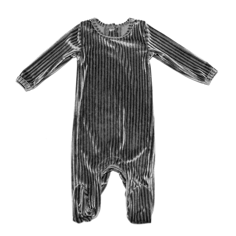 Ribbed Velvet Footie Baby Footies Maniere Accessories Grey 3M