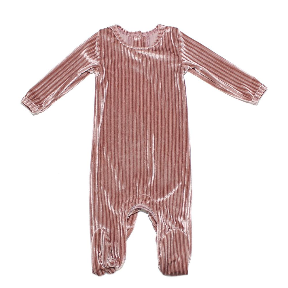 Ribbed Velvet Footie Baby Footies Maniere Accessories Mauve 3M
