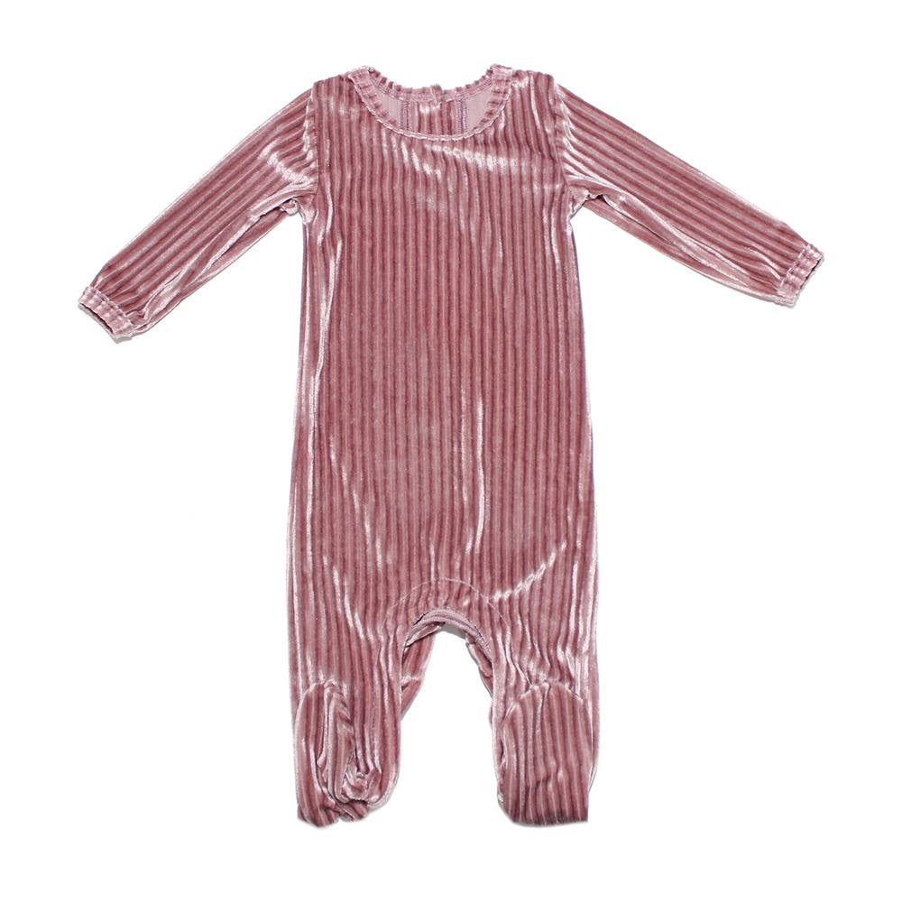 Ribbed Velvet Footie Baby Footies Maniere Accessories Rose 3M