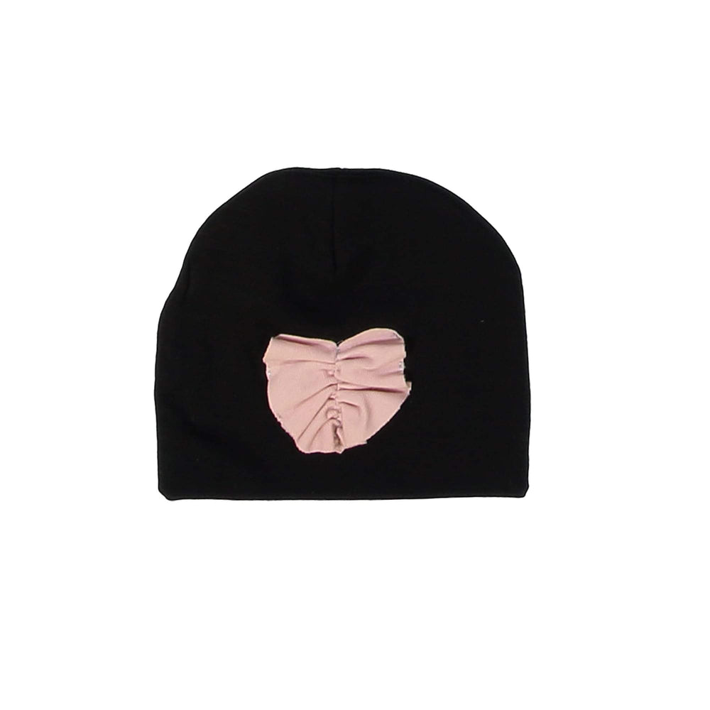 Load image into Gallery viewer, Ruched Heart Beanie (no pom) Maniere Accessories Black XS