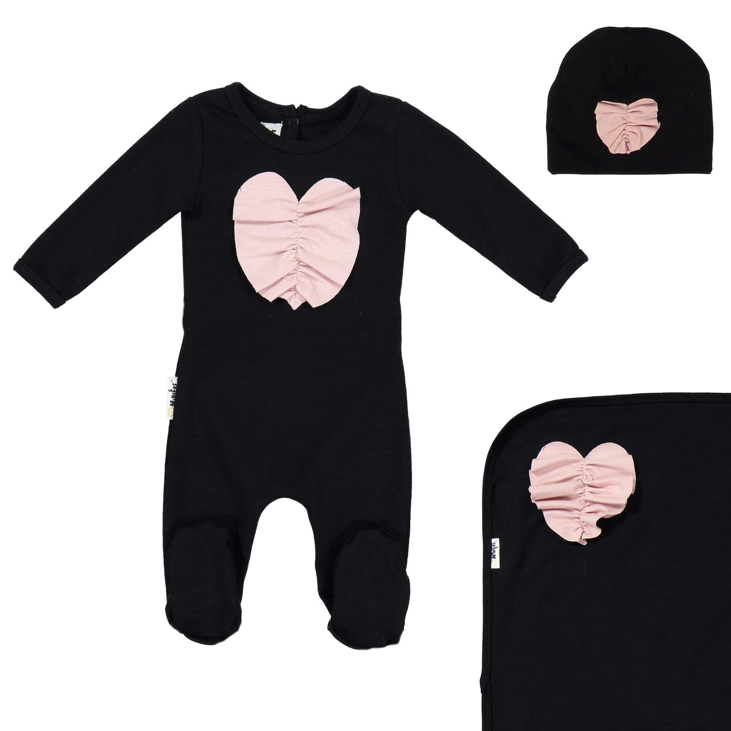 Ruched Heart Footie Set Maniere Accessories Black 3 Month