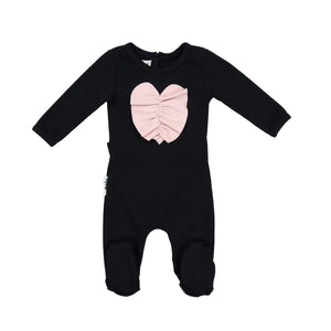 Ruched Heart Footie Maniere Accessories Black 3 Month