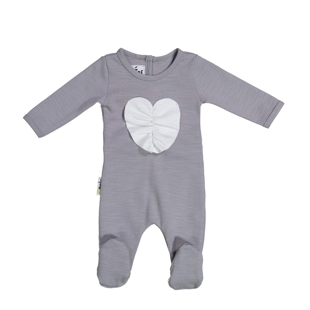 Ruched Heart Footie Maniere Accessories Grey 3 Month