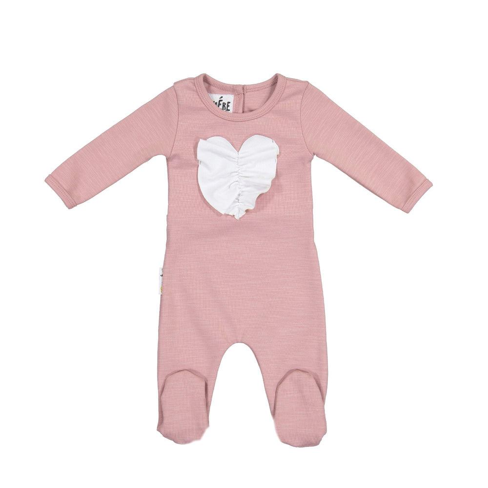 Ruched Heart Footie Maniere Accessories Mauve 3 Month