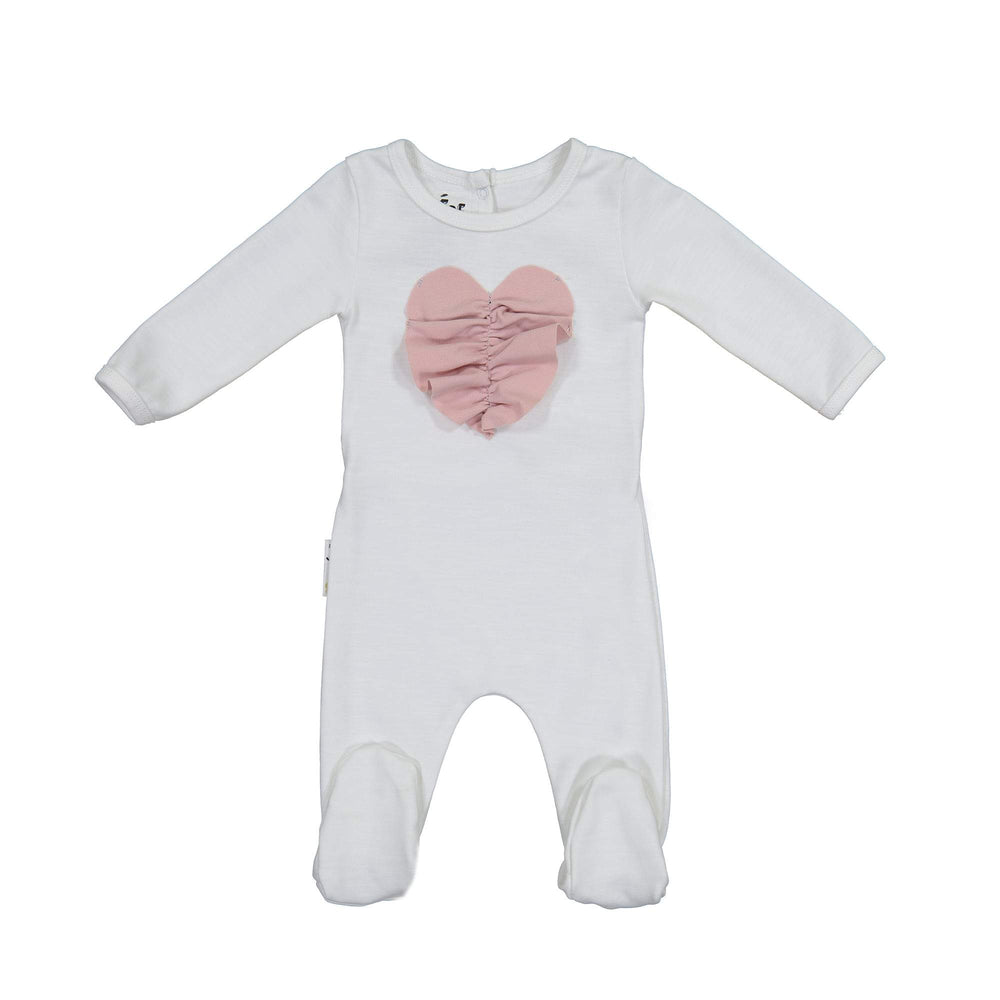 Ruched Heart Footie Maniere Accessories White 3 Month