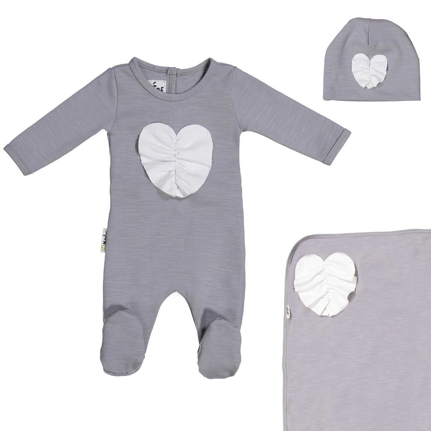 Ruched Heart Footie Set Maniere Accessories Grey 3 Month