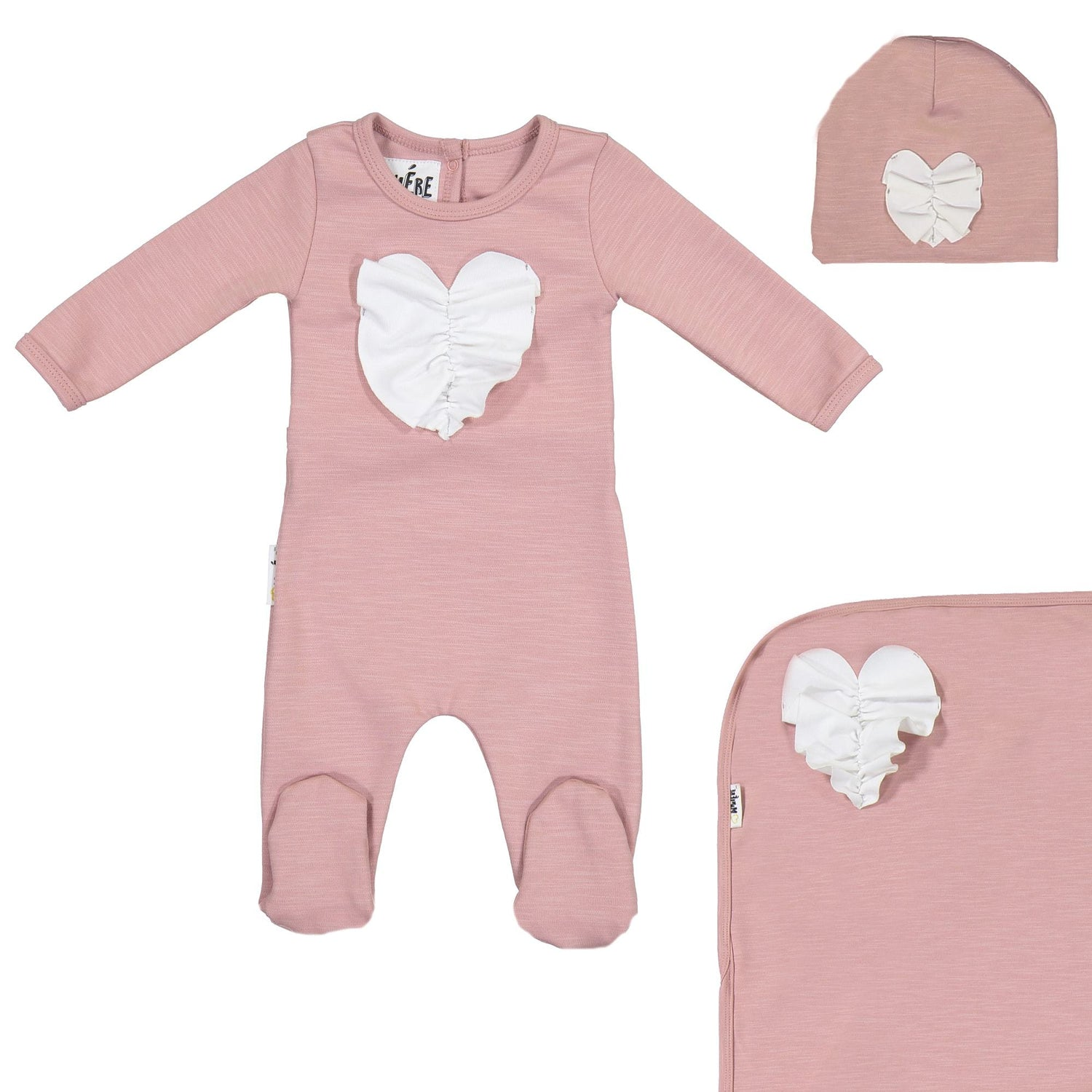 Ruched Heart Footie Set Maniere Accessories Mauve 3 Month