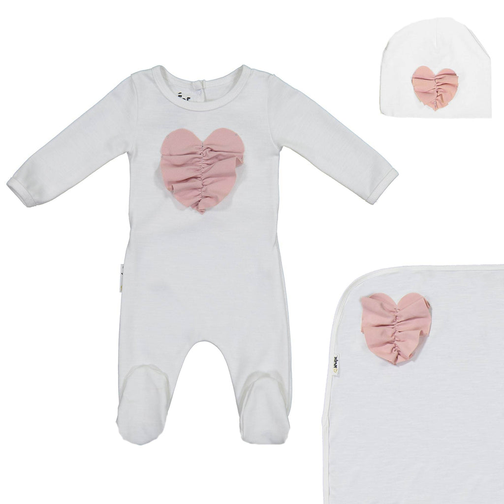 Ruched Heart Footie Set Maniere Accessories White 3 Month