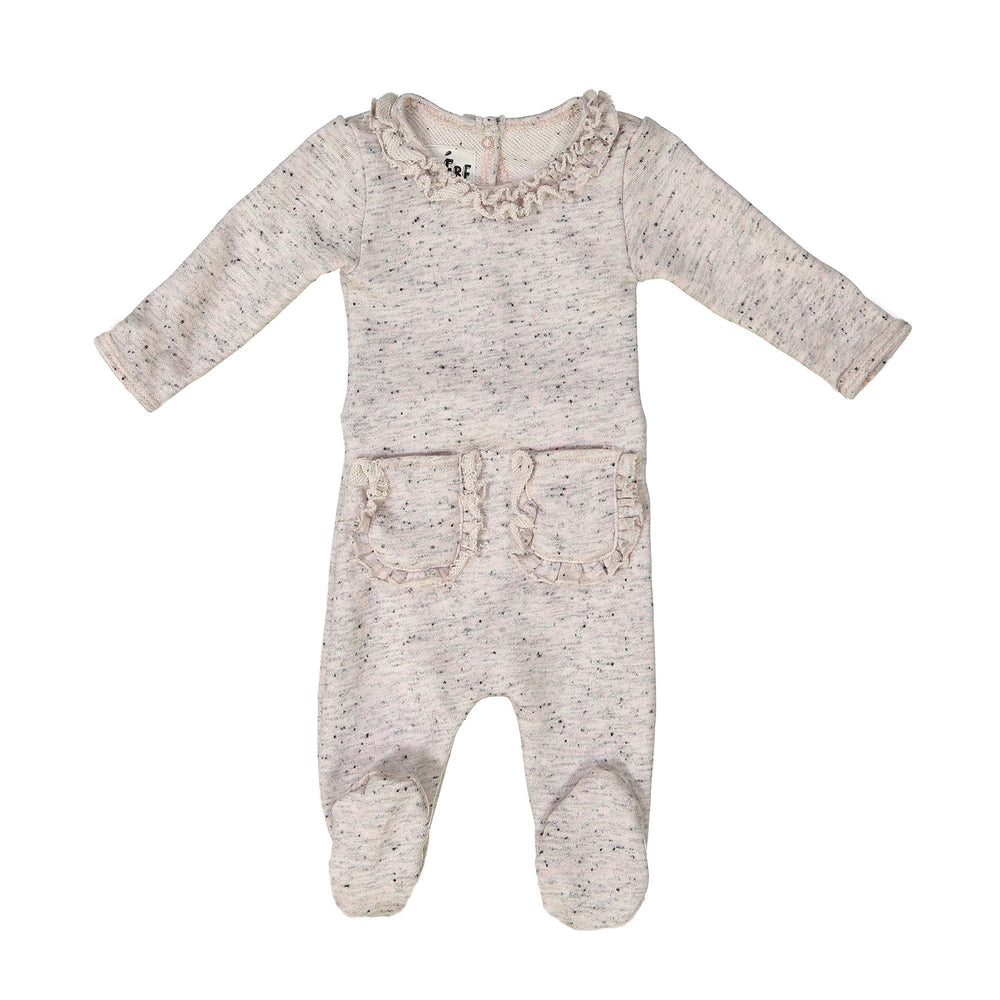 Ruffle Pocket French Terry Footie Maniere Accessories Light Pink 3 Month