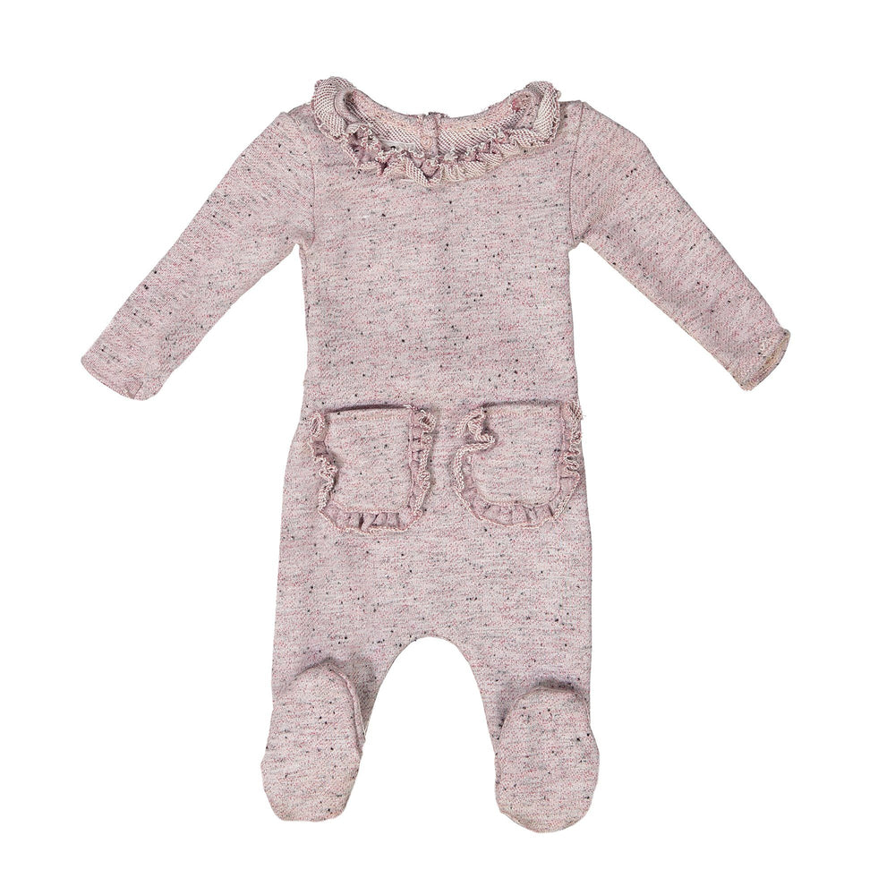 Ruffle Pocket French Terry Footie Maniere Accessories Pink 3 Month