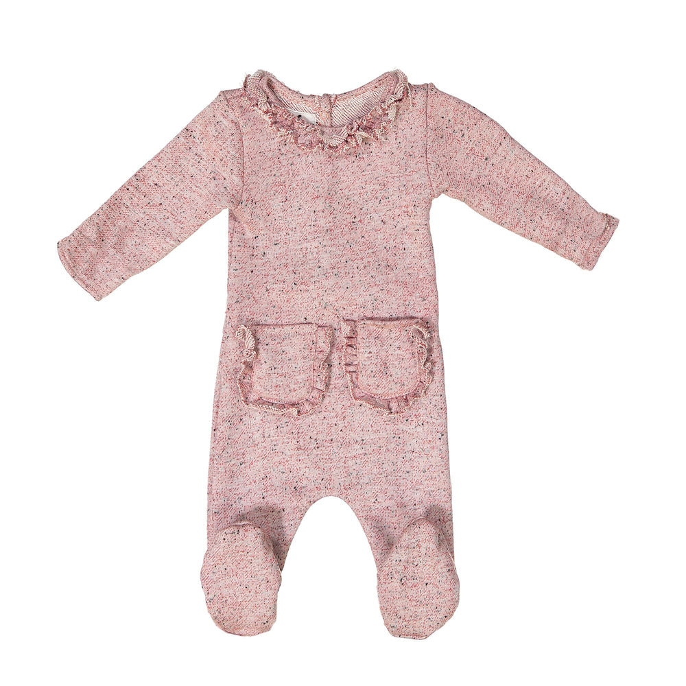Ruffle Pocket French Terry Footie Maniere Accessories Red 3 Month