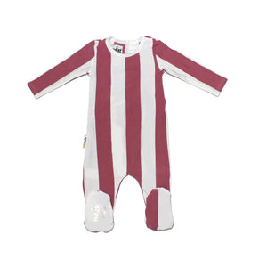 Striped Cotton Footie Baby Footies Maniere Accessories Berry 3 Months