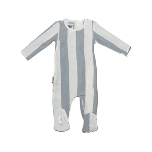 Load image into Gallery viewer, Striped Cotton Footie Baby Footies Maniere Accessories Blue 3 Months