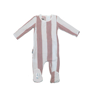 Striped Cotton Footie Baby Footies Maniere Accessories Mauve 3 Months