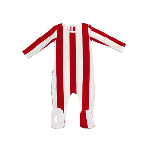 Load image into Gallery viewer, Striped Cotton Footie Baby Footies Maniere Accessories Red 3 Months