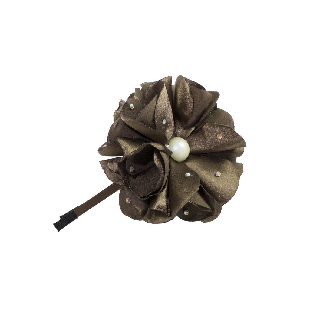 Sparkle Flower Headband Headband Manière Brown