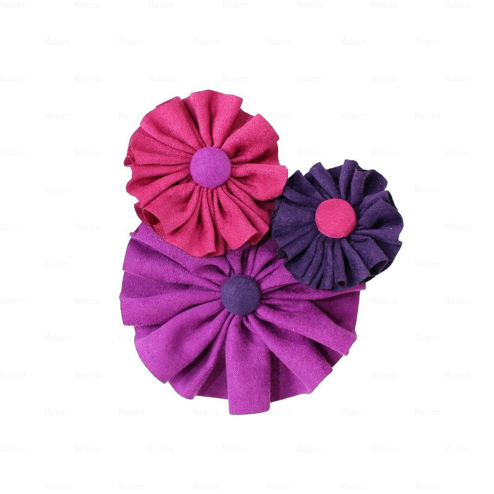 Load image into Gallery viewer, Suede Flower Clusters Hair Clip Hair Clip Manière Purple