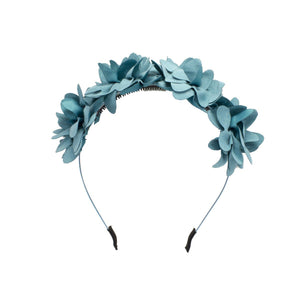 Load image into Gallery viewer, Suede Floral Wreath Headband Manière Aqua
