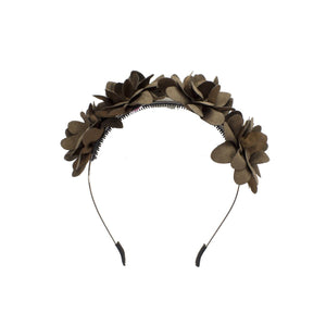 Suede Floral Wreath Headband Manière Brown