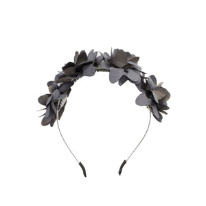 Suede Floral Wreath Headband Manière Grey
