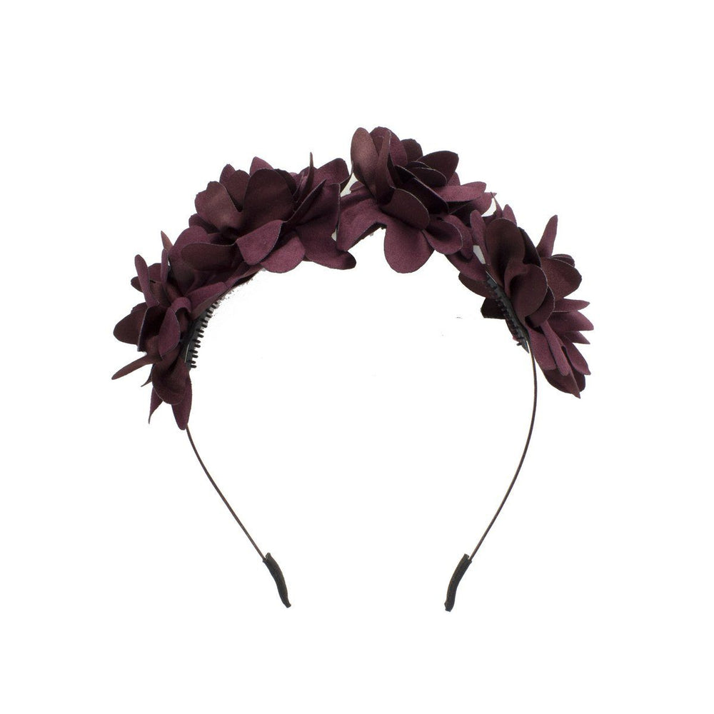 Load image into Gallery viewer, Suede Floral Wreath Headband Manière Maroon