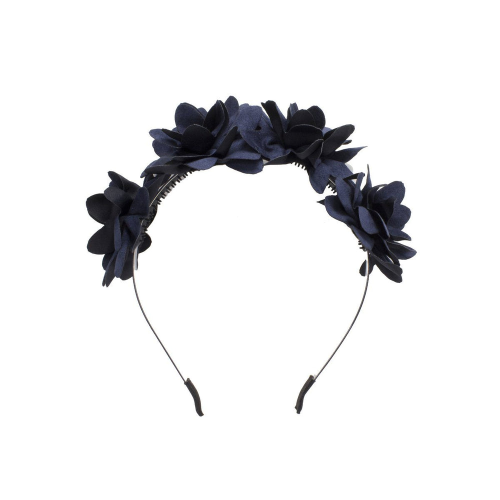 Suede Floral Wreath Headband Manière Navy
