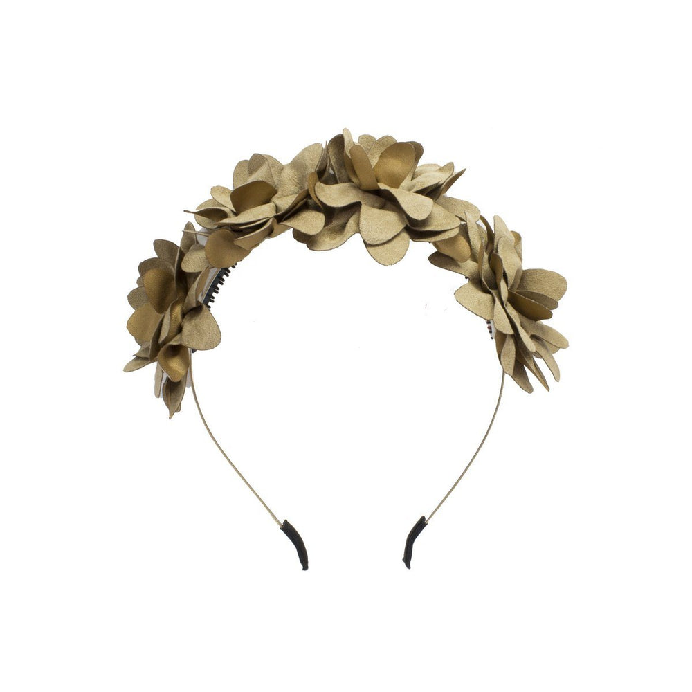 Suede Floral Wreath Headband Manière Pale Brown