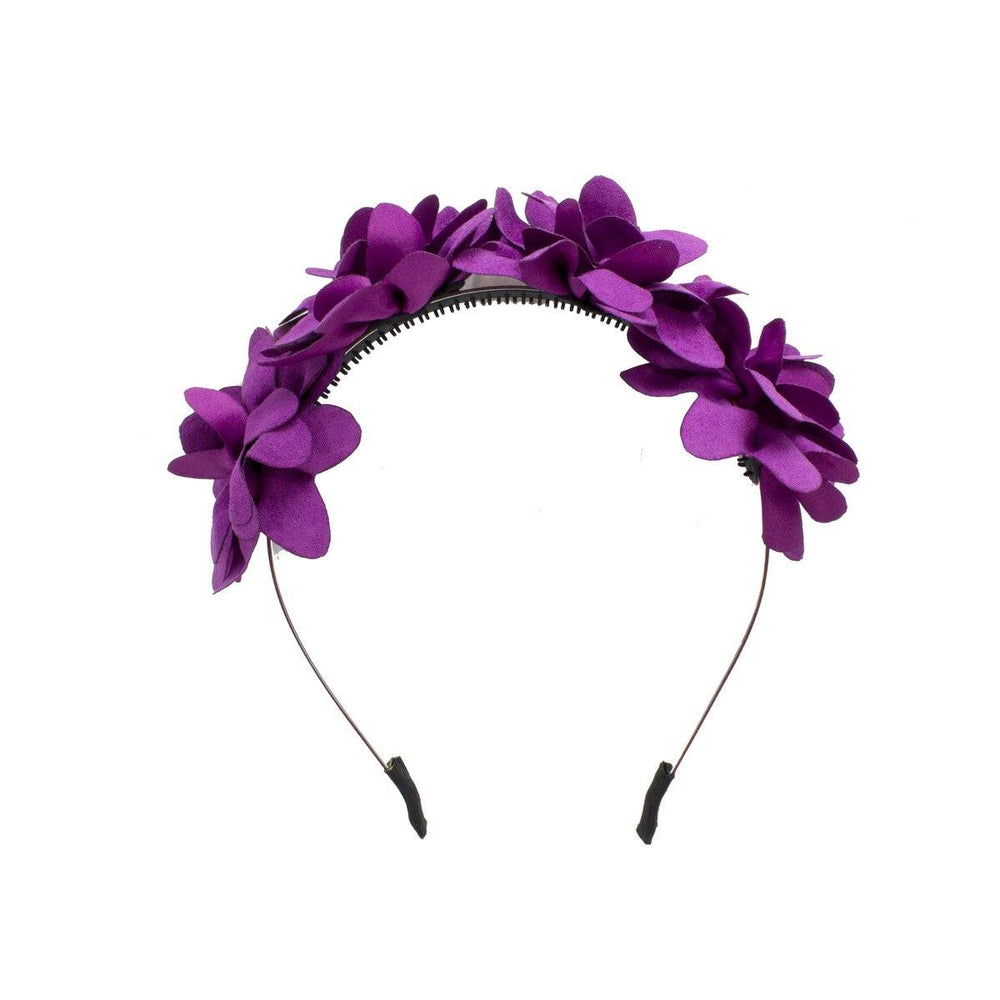 Suede Floral Wreath Headband Manière Purple