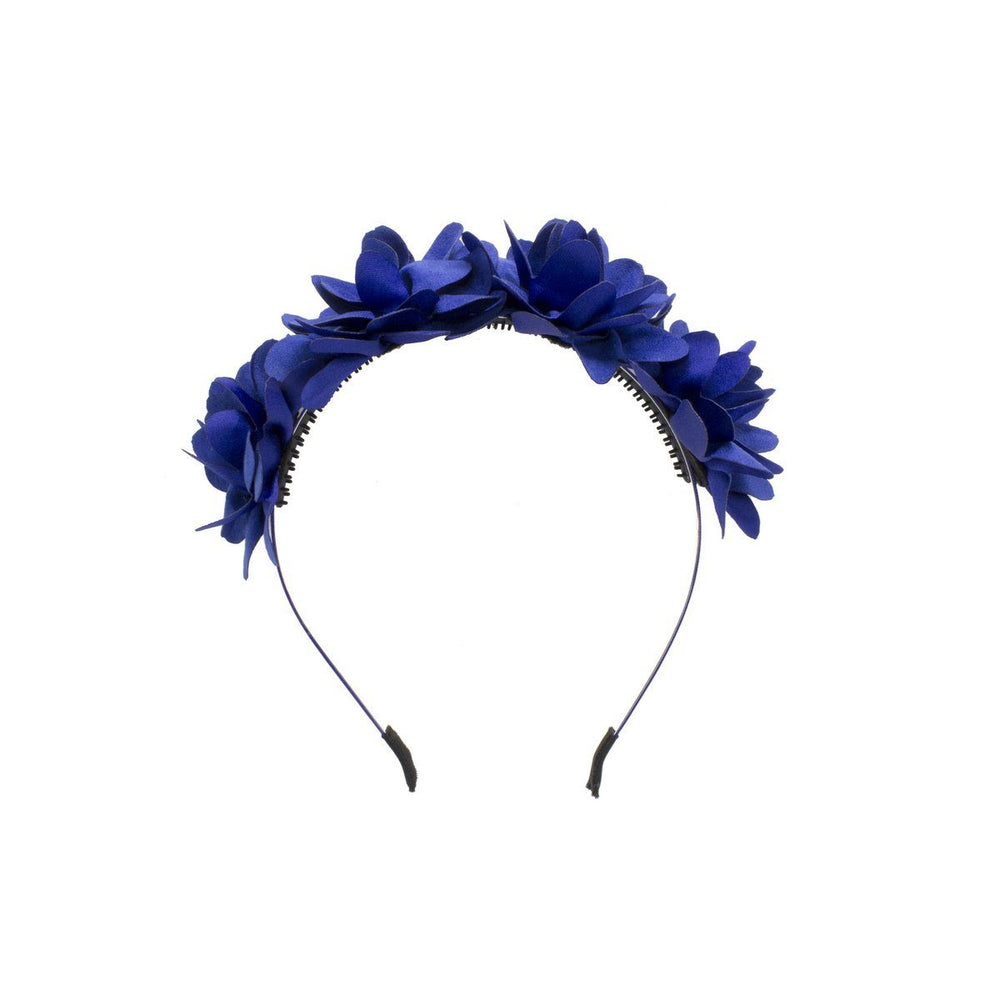 Suede Floral Wreath Headband Manière Royal Blue