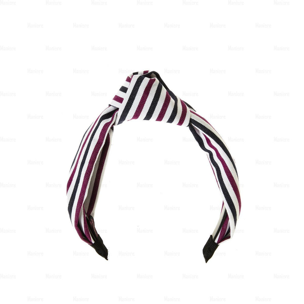Stiped-Kay-Knot-Headband Headband Manière Black/Wine