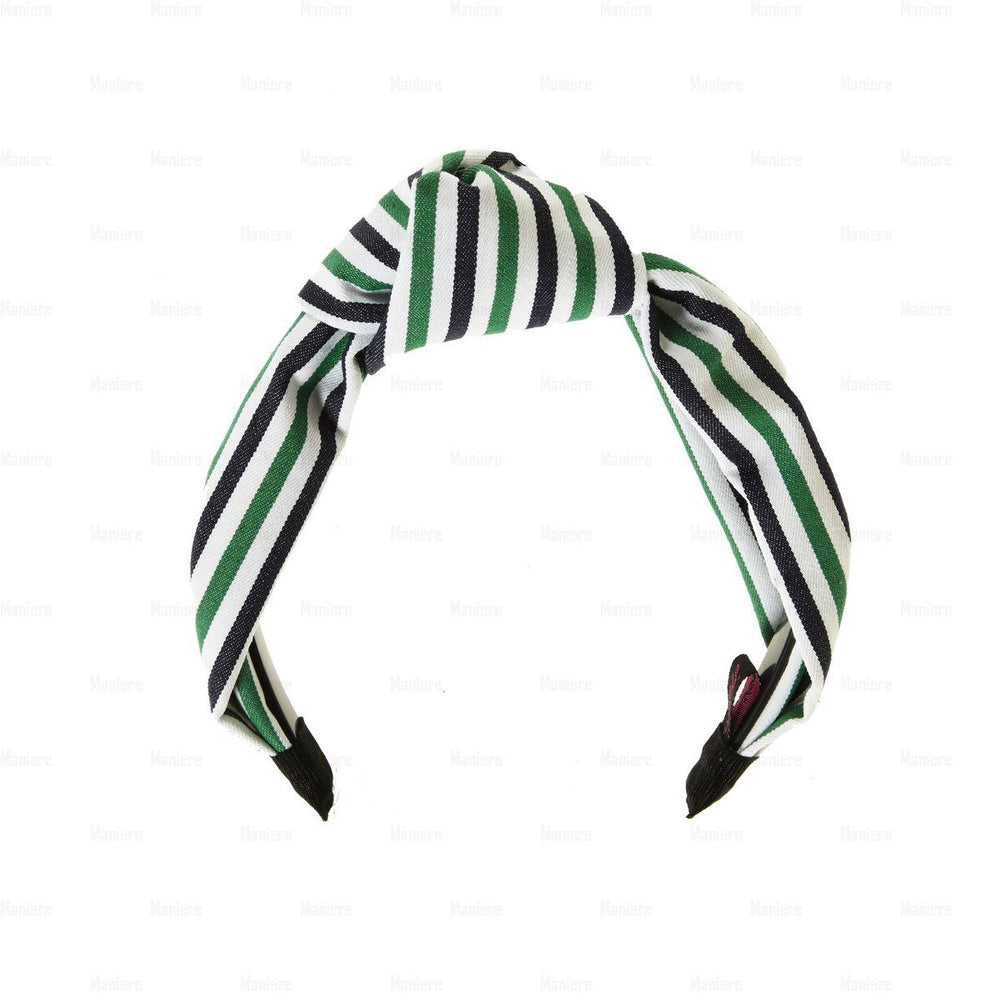 Stiped-Kay-Knot-Headband Headband Manière Green/Navy