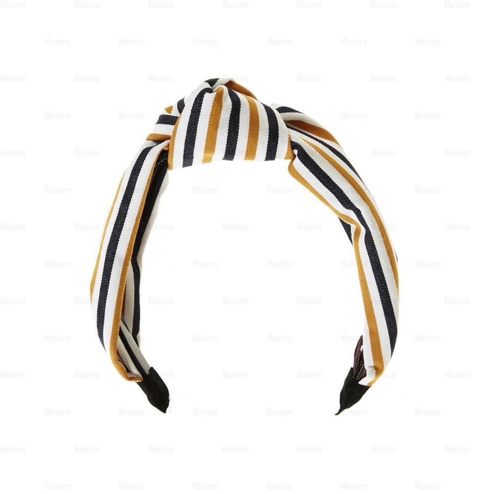 Load image into Gallery viewer, Stiped-Kay-Knot-Headband Headband Manière Mustard/Black