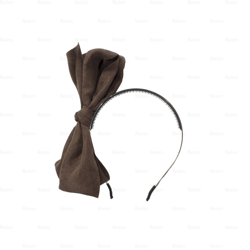 Suede-Majestic-Bow-Headband Headband Manière Brown