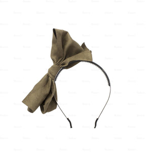 Load image into Gallery viewer, Suede-Majestic-Bow-Headband Headband Manière Coffee