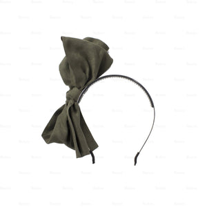 Load image into Gallery viewer, Suede-Majestic-Bow-Headband Headband Manière Khaki
