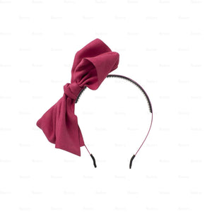 Load image into Gallery viewer, Suede-Majestic-Bow-Headband Headband Manière Raspberry