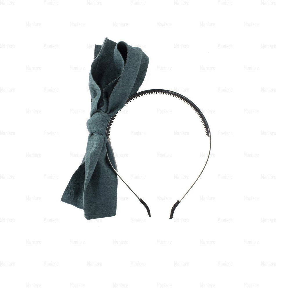 Suede-Majestic-Bow-Headband Headband Manière Teal