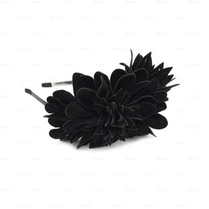 Suede-Two-Tone-Flower-Headband Headband Manière Black