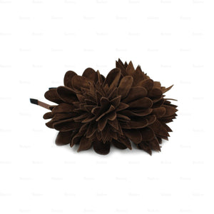 Suede-Two-Tone-Flower-Headband Headband Manière Brown