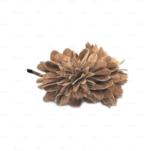 Load image into Gallery viewer, Suede-Two-Tone-Flower-Headband Headband Manière Camel